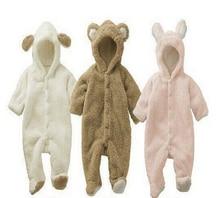 Розничная зима детские медвежонок модель животных Ребенок ползунки интенсификации rompers младенческой одежды 3 цвета бесплатная доставка