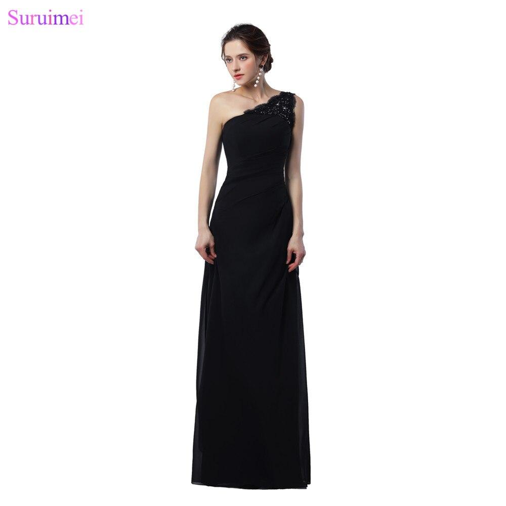 01685cdb196 Long Black One Shoulder Bridesmaid Dresses – DACC