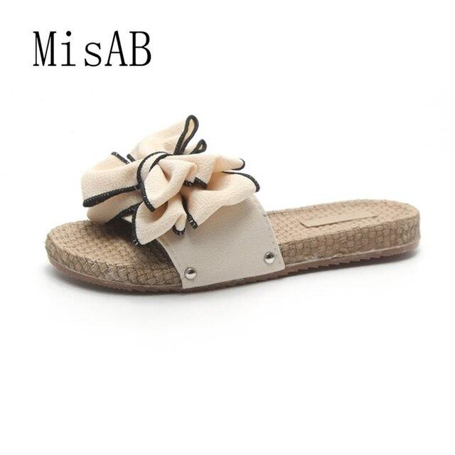 93884a3b00 2018 mulheres da moda chinelos de verão fiat salto bowknot sapatos chinelos  de plataforma de praia