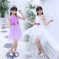 Vestido de verano para niña, cinturón de flor con lazo de encaje, vestidos de gasa para dama de honor, 11, 12, 5, 6, 7, 8, 9 y 10 años