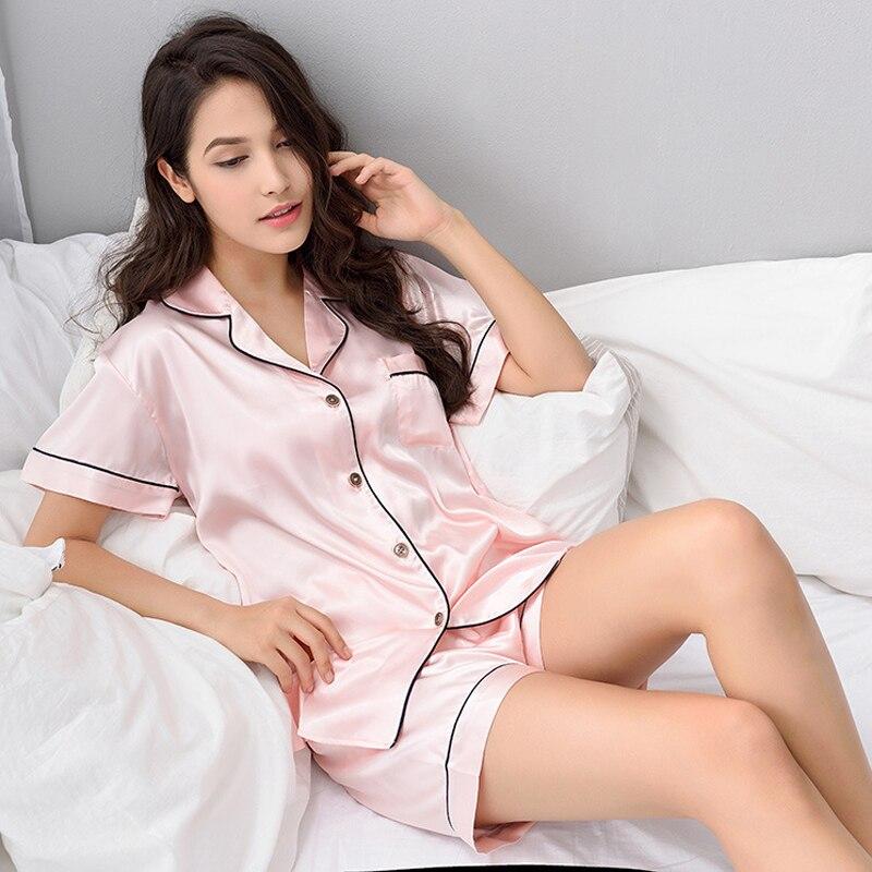 Thoshine Brand 2019 Summer Style Women Chinese Satin Silk Pajamas Sets of T-shirt & Shorts Female Superior Sleepwear Nighty Suit