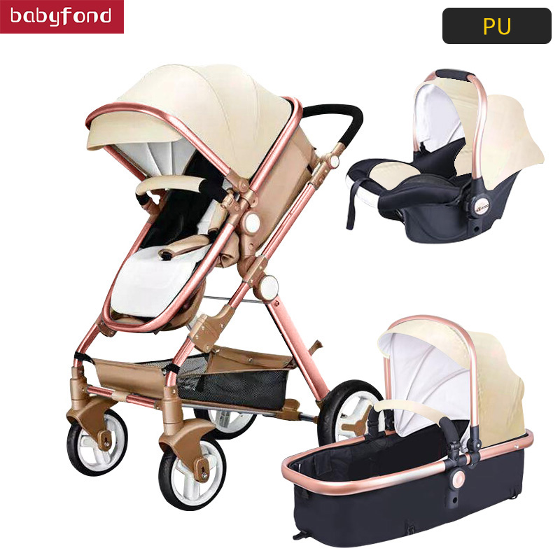 Golden Baby Luxury Baby Stroller High Landscape Baby Carriage Leather 3 In 1 Stroller With Car Seat Pram CE Safety Babyfond