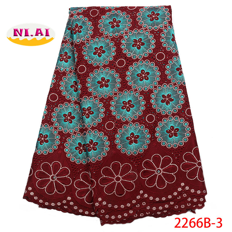 New Design Hot Sale Nigerian Lace Fabric,Fashion African Kano Cotton Swiss Voile Lace In Switzerland High Quality Lace NA2266B-2