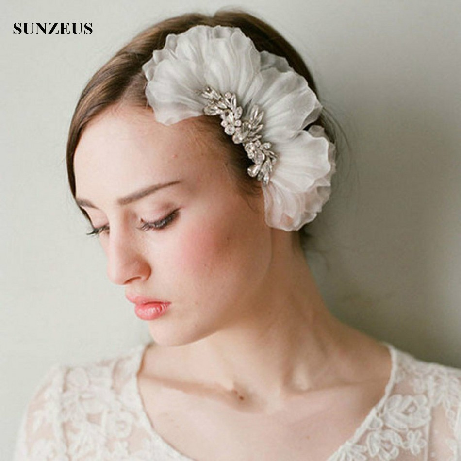 Hand-made Petals Ivory Bridal Hair Comb With Rhinestones Headpieces Wedding Accessory SQ0196