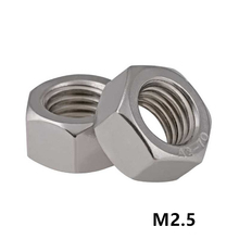 1000pcs M2.5 DIN934 A2-70 Stainless Steel Hex Nuts SUS304 Metric Fastener M1.6M2M2.5M3M4M5M6M8M10M12M14...M33 Aailable