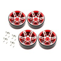 4pcs T power 1.9 Inch RC Tires Beadlock Alloy Wheels Hub Beadlock Rim Sets for 1/10 RC Car RC Component Spare Parts Accessories