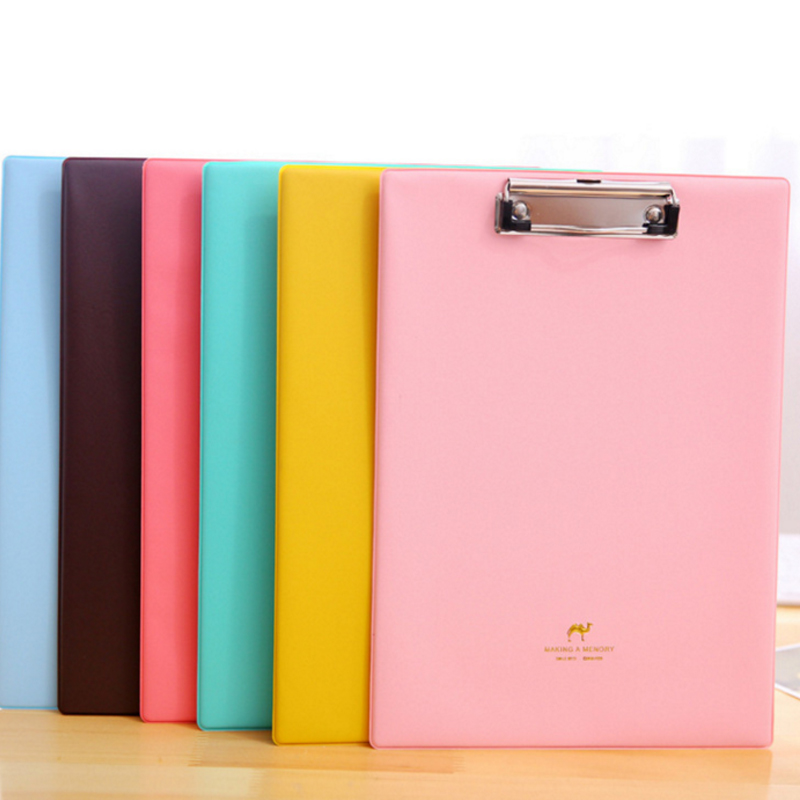 Candy Color Clipboards A4 Notes Folder Write Sub plate WordPad Stationery Clip File Paper File Folder Holder School Supplies in File Folder from Office School Supplies