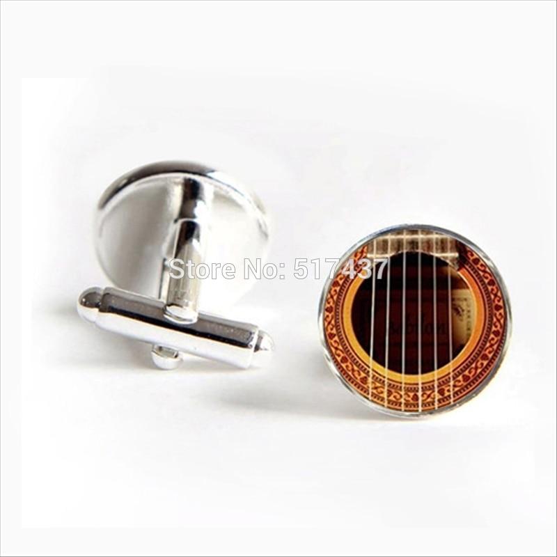 2017 Wholesale Acoustic Guitar Cufflinks Guitar Cuff Link Musical Instrument Vintage Cufflinks For Mens