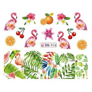 Image 5 - 12 デザインフラミンゴネイルステッカー水花緑色植物スライダー装飾ネイルアートラップマニキュアヒント BEBN913 924