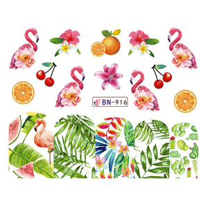 Image 5 - 12 Design Flamingo Nail Sticker Water Decals Flowers Green Plants Sliders Decorations Nail Art Wraps Manicure Tips BEBN913 924