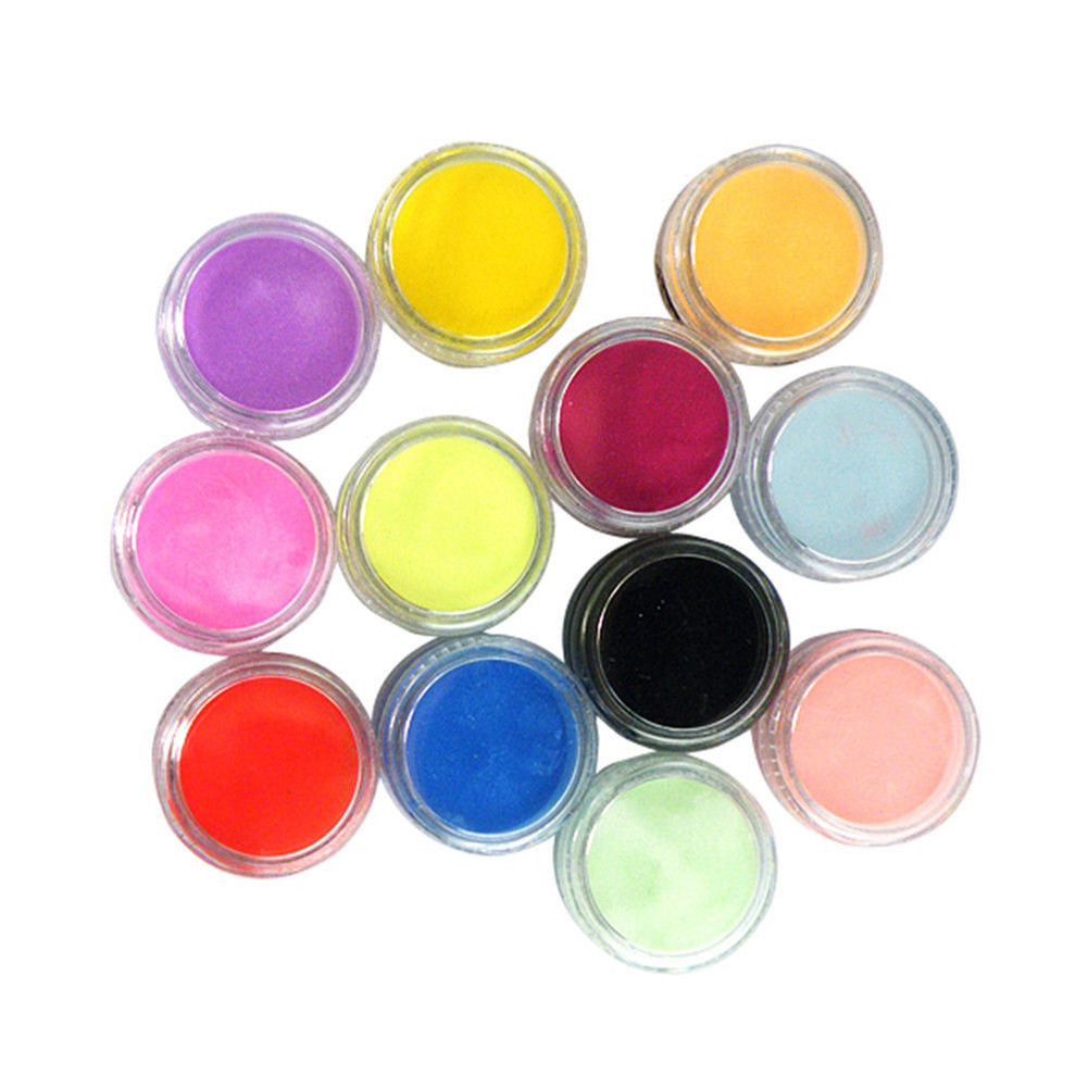 12 Color Set Acrylic Nail Art Uv Gel Powder Dust Design 3d Manicure Uv Gel Builder Color Light