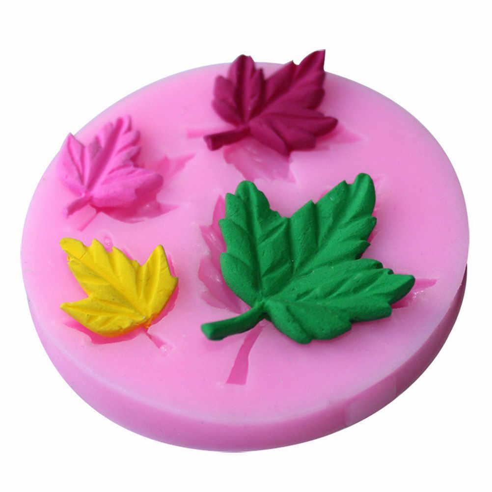 3Dแม่พิมพ์เค้กซิลิโคนF Ondantคัพเค้กเยลลี่ลูกอมเครื่องมือช็อคโกแลตDecoration4ถืออบแม่พิมพ์ฤดูใบไม้ร่วงใบเมเปิ้ล6.6*6.6*1เซนติเมตร
