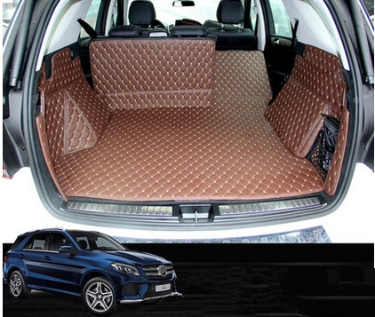 Custom Waterproof Car Trunk Mat Full Covered Cargo Liners for Mercedes-Benz ML 2012-2016 Black with Black Lines