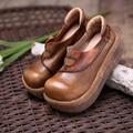 Spring/Summer Retro Pumps Full Grain Leather Round Toe Wedges Comfortable Casual Women Shoes Black Handmade Women Platform Shoes