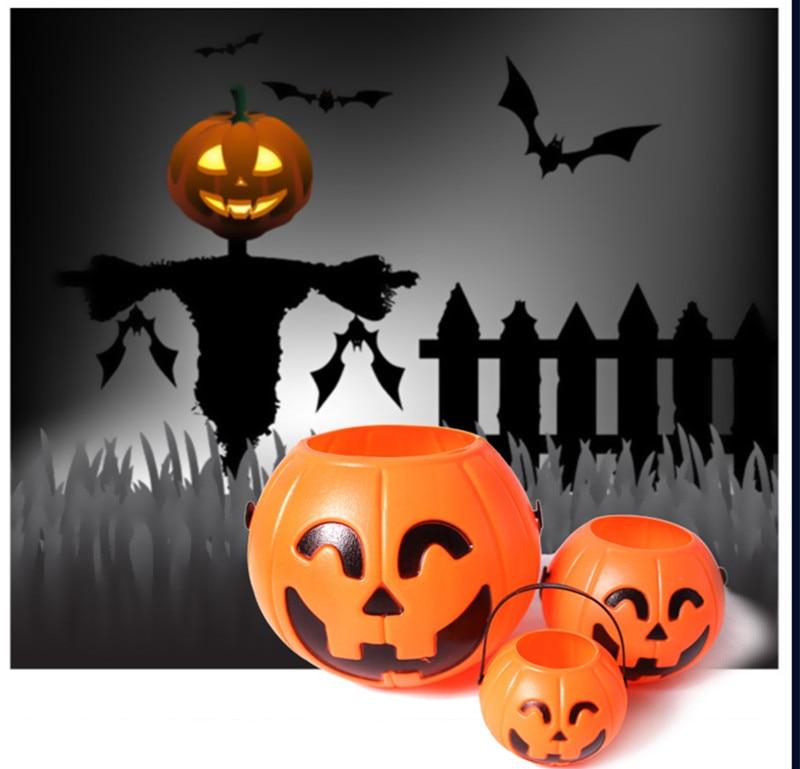 10pcslot halloween party props plastic pumpkin bucket trick treat cosplay plastic decoration pouch holder - Large Plastic Pumpkins