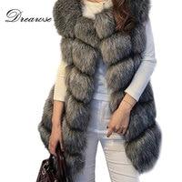 Dreawse S 4XL Female Fur Waistcoat Winter Warm Faux Fox Fur Vest Women High Grade O Neck Long Fur Coat Cardigan Mujer MZ1657