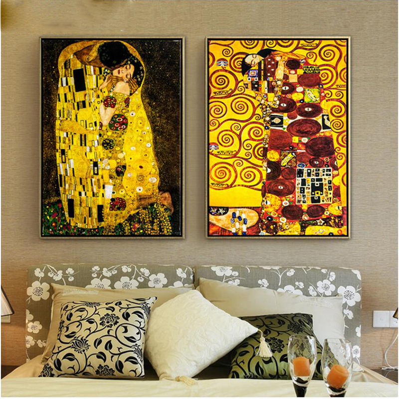 Us 179 0 Pinturas Al Oleo Cuadros Hand Painted Oil Paintings Gustav Klimt Oil Painting On Canvas For Home Decoration Canvas Painting In Painting