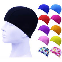 Deluxe Stretch Swimming Cap Spandex Fabric Material Hair Protect Pool Hat Adult Kids