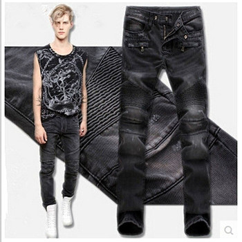 Mens Balmai Jeans Designer Biker Warm Jeans Distressed Motorcycle Denim Pants Joggers Slim Fit Ripped Jean Men Trousers Pant Man 2016 new arrived men s biker jeans bule casual slim distressed denim hiphop pant for male hots jean designer skinny trousers