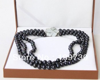 Jewelry 0015204 AA+ 3row 10mm round black Freshwater pearl necklace seashell clasp