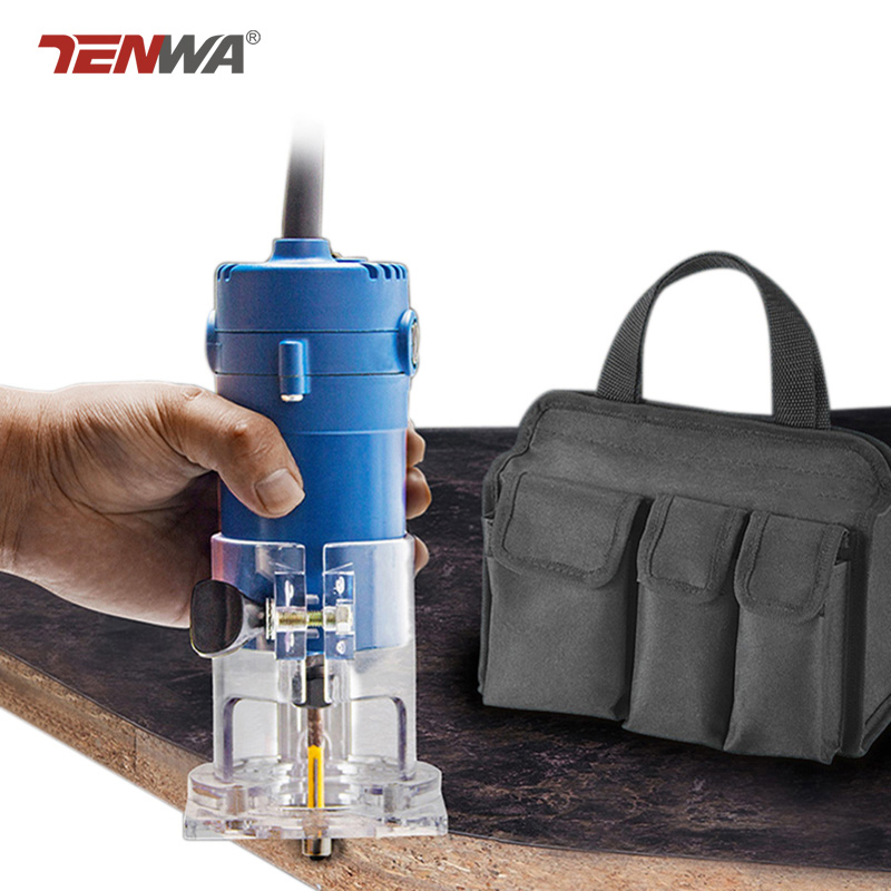 TENWA Router Trimmer 500W Electric Laminate Edge Trimmer With Bag Powerful 6 35MM Chuck Woodworking Trimmer
