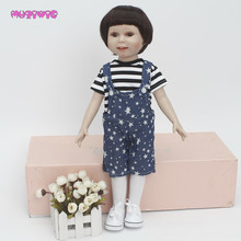 MUZIWIG Short Dark Brown Hair Wigs with Bangs for 18 inch American Doll homemade Dolls Accessories