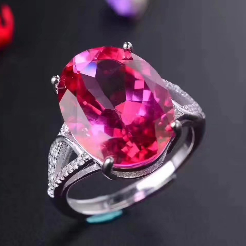 New 925 Sterling Silver Pink topaz rings fashion gift for women jewelry Index finger ring fine