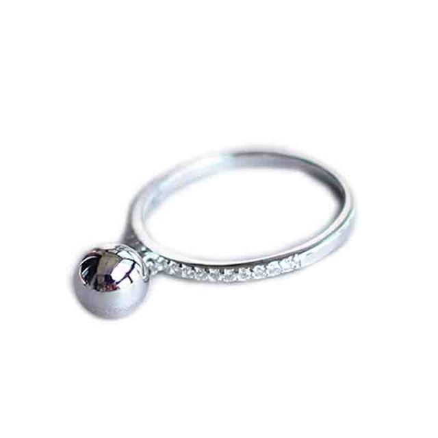 Korean Fashion Silver Color Ball Adjustable Size Rings For Women Ladies Luxury Jewelry Trendy Antique Ring Anillos 4