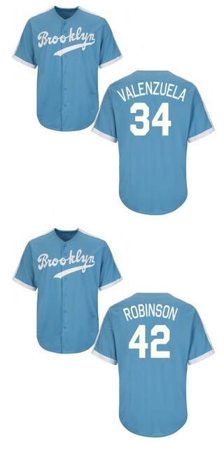 dd8ba7d83 Throwback 34 Fernando Valenzuela 42 Jackie Robinson Cooperstown Cool Base  Baseball Jersey Brooklyn Dodgers Jersey stitched S-4XL