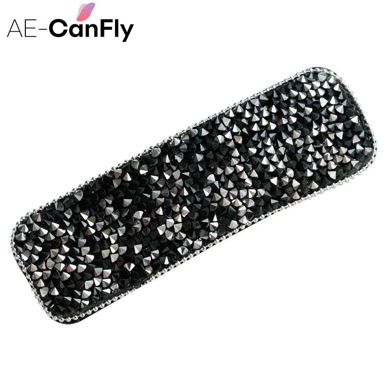 AE-CANFLY Korean Handmade Black Rhinestone Bangs Hair Clip Side Clip Crystal Hairpin Hair Accessories