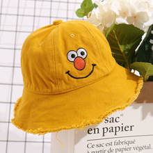 Cute Cartoon Bucket Hat Kids Fisherman Hats Summer Outdoor Hunting Cap Solid Color Seasame Street Character Flat for Boy