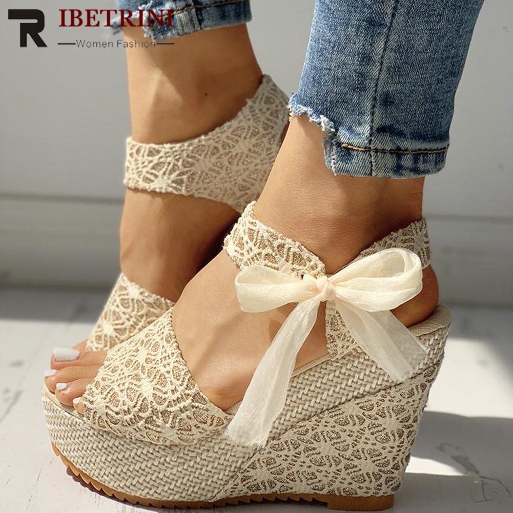 RIBETRINI Women Shoes Heeled Platform Summer Sandals Party Fashion Lace Wedges Leisure