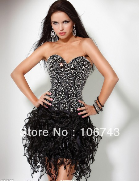 Free Shipping 2016 New Design Vestidos Formal Sexy Backless Elegant Beaded Short Mini Black Prom Gown Cocktail Party Dresses