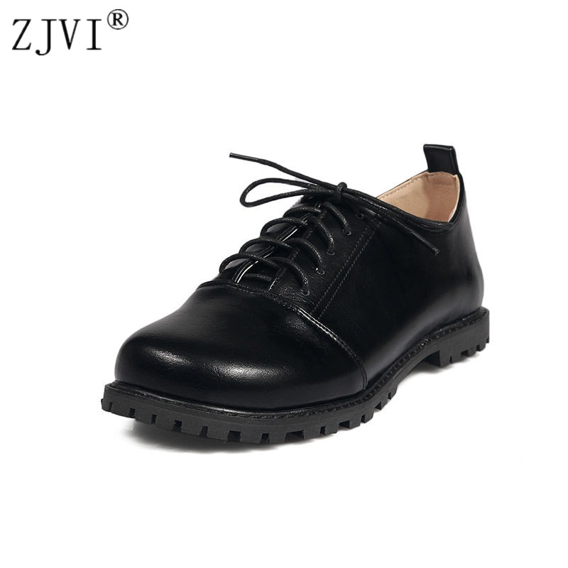 ZJVI Women round toe flats 2018 spring summer lace up flat with shoes for woman women's work shoes ladies casual black shoes