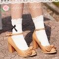 Princesa Dulce lolita soks Calcetines color sólido del arco del algodón 100% del calcetín del laciness 100% calcetines de algodón calcetines femeninos 4 colores