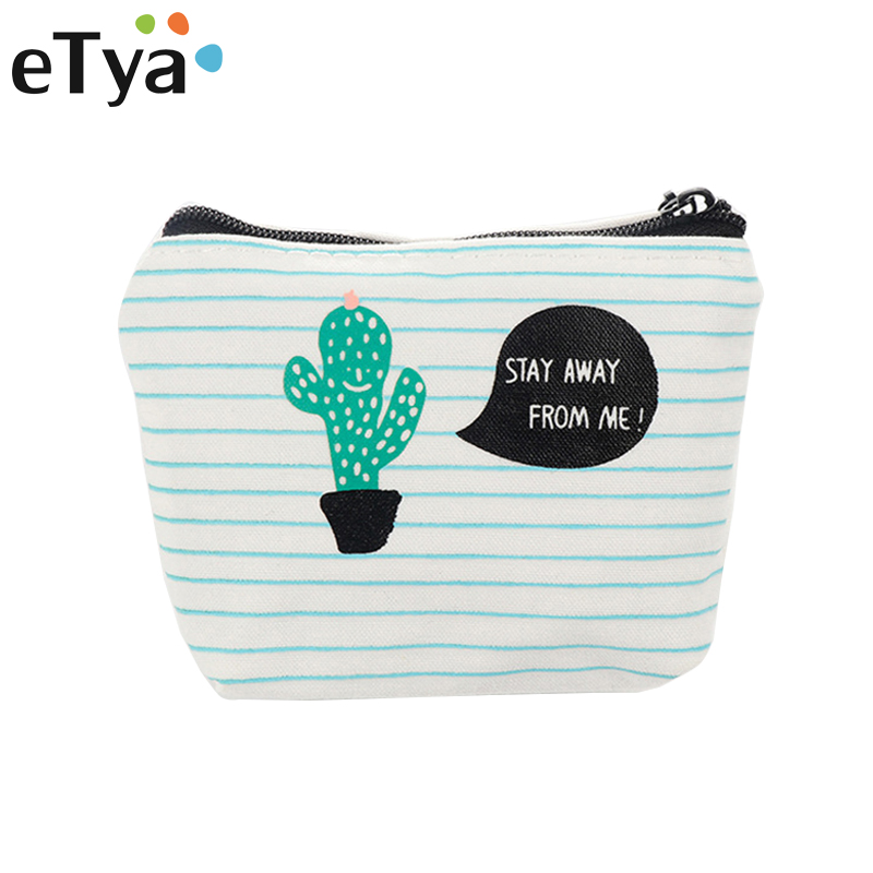 eTya Coin Purse Women Cactus Wallets Small Mini Cute Cartoon Card Holder Key Headset Money Bags for Girls Purses Kids Children girls mini messenger bag cute plush cartoon kids baby small coin purses lovely baby children handbags kids shoulder bags bolsa
