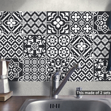 Funlife 15*15cm/20*20cm PVC Black and White DIY Waterproof Self Adhesive Removable Furniture Kitchen Bathroom Tile Sticker TS054