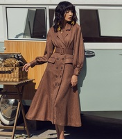 Long Sleeve Work Dress 2019 Spring Fashion Business Women's Dress Notched Collar Double Breasted Lantern Sleeve Vintage Dress