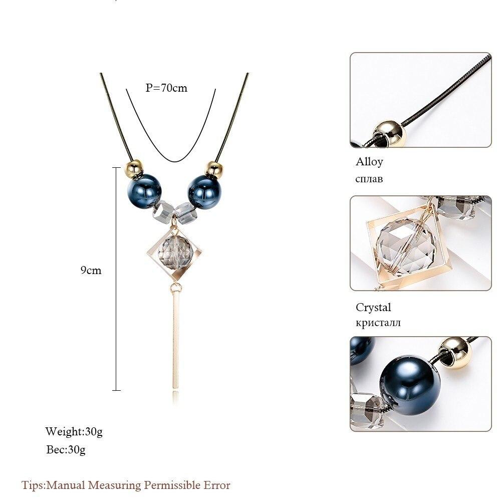 ccd7ac37e717 Collar largo de Meyfflin collar de cristal para mujer joyería 2017 cadena  negra de moda gotas Maxi collares PendantsKolye Collier