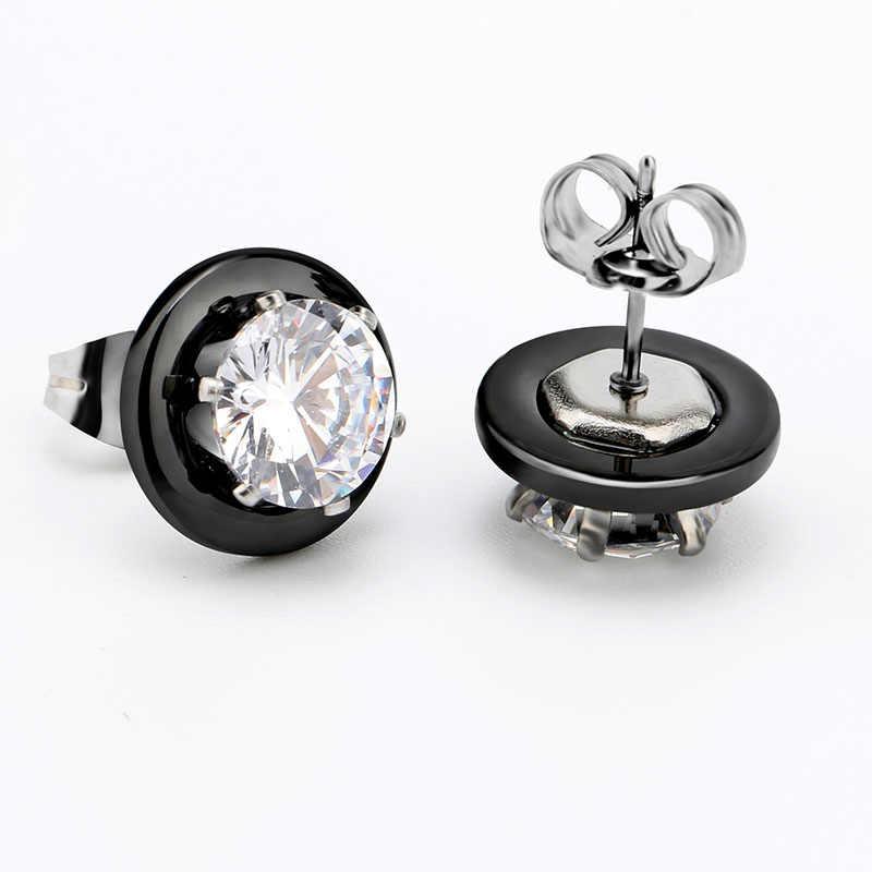 Heißer Verkauf Kristall Hochzeit Schmuck Sets Schwarz Weiß Keramik Ohrring und Ringe Sets Mit Großen Karat Strass Für Frauen Schmuck