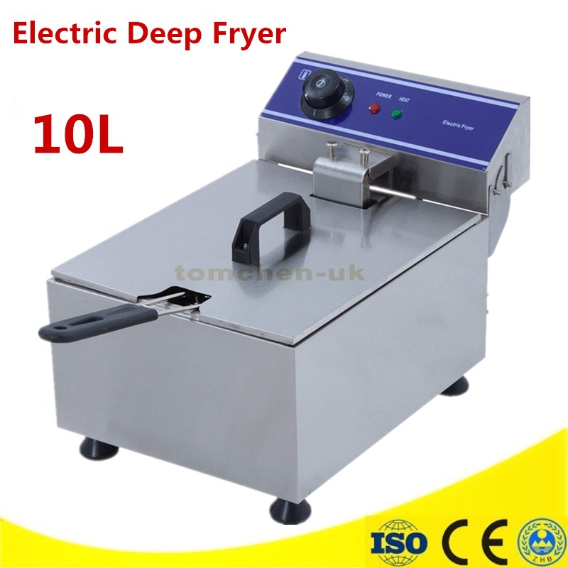 10L 3KW Electric Deep Fryer Multifunctional Household Commercial Stainless Steel Grill Frying Pan French Fries Machine Hot Pot 220v 600w 1 2l portable multi cooker mini electric hot pot stainless steel inner electric cooker with steam lattice for students