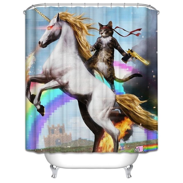 Memory Home Personalized Funny Unicorn And Cat Shower Curtain Rings Included 100 Polyester Waterproof