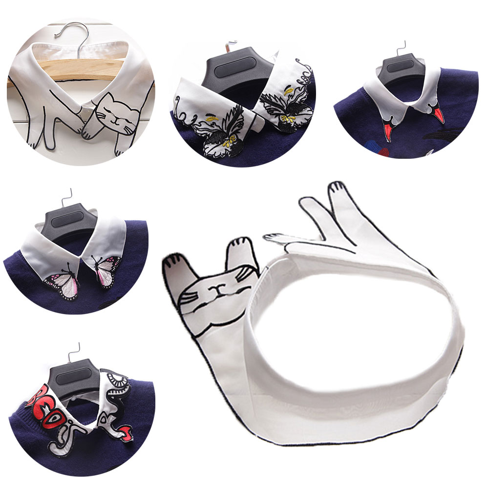 Shirt Fake Collar Detachable Cartoon Embroidery Lapel Blouse Tops Costume Decor False Collars Women Clothes Accessories