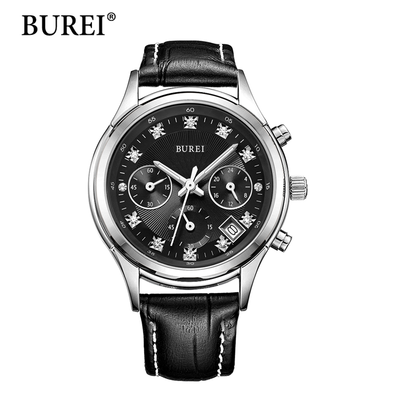 BUREI недели дисплей полный календарь Женские Часы многофункциональные женские часы натуральной кожи ремешок Циферблат наручные часы