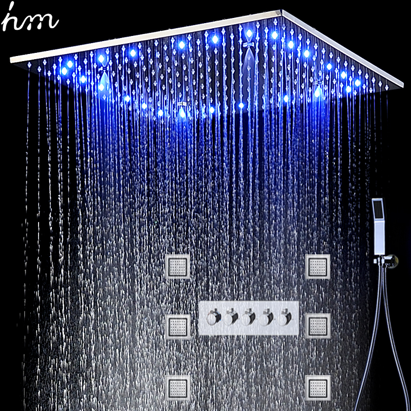 Luxury Shower System Led Shower Set Square Ceiling Shower