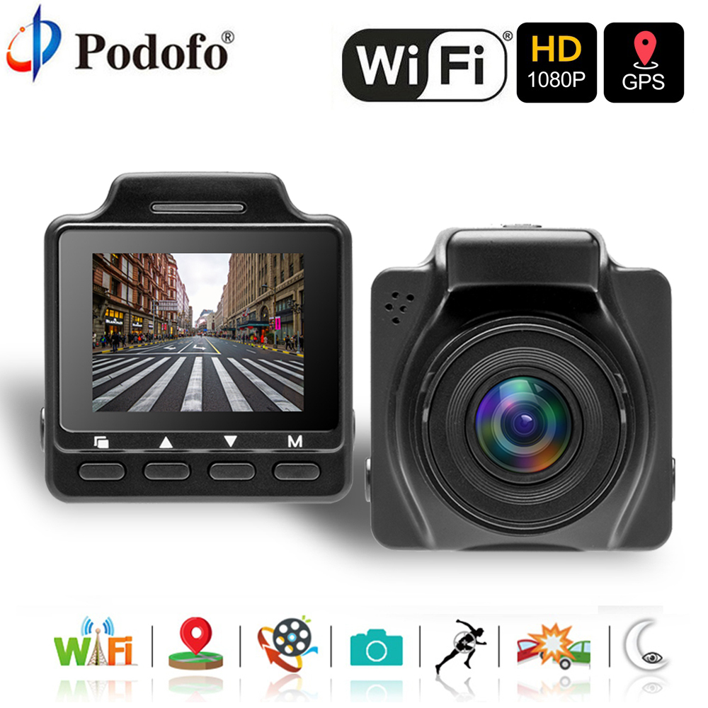 Podofo Caméra Double Lentille Voiture DVR GPS Caméra Wifi FHD 1080 p Vision Nocturne Enregistreur Vidéo Voiture Enregistreur Caméscope moniteur de stationnement