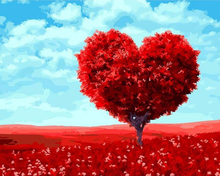 """DIY Painting By Number – Heart Tree (16""""x20"""" / 40x50cm)"""