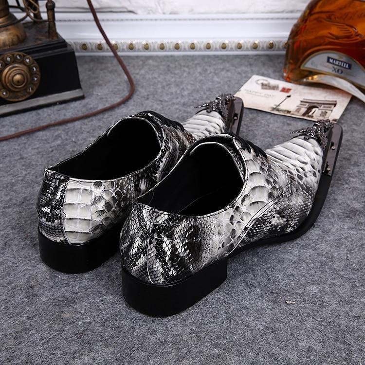 Zapatos Flats Pele De Couro Mens Cobra Hombre Genuine Mocassins Homens Dedo Metal A Casamento Sapatas Sapatos Apontado Lace Do up Vestido qOwB44