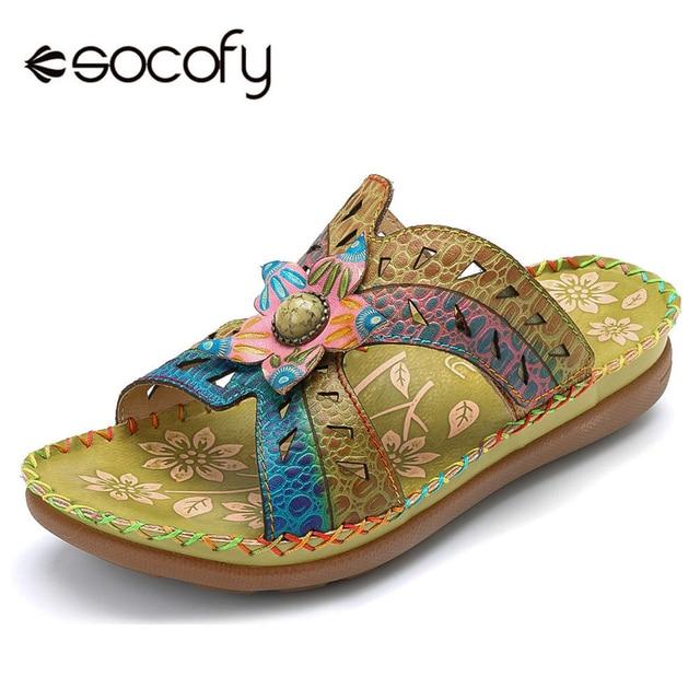 0cdeedf08be3 Socofy Handmade Flower Genuine Leather Slippers Women Shoes Summer Hook  Loop Bohemian Vintage Slides Slippers Beach Shoes Woman