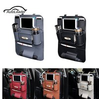 High Quality PU Leather Car Seat Back Storage Bag Outdoors Multifunction Hanging Bag Umbrella Drink Holders Organize Containers